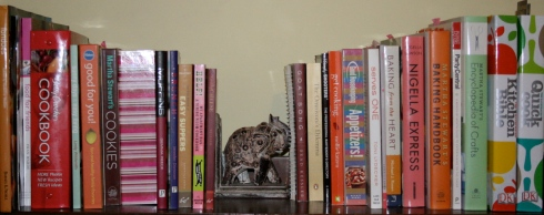 my cookbook shelf- not that scary